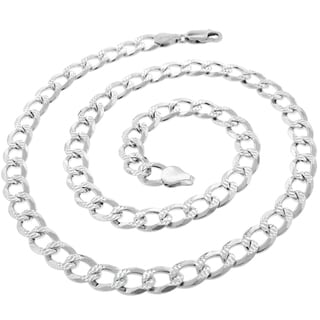 .925 Sterling Silver 7.5mm Solid Cuban Curb Link Diamond Cut ITProLux Necklace