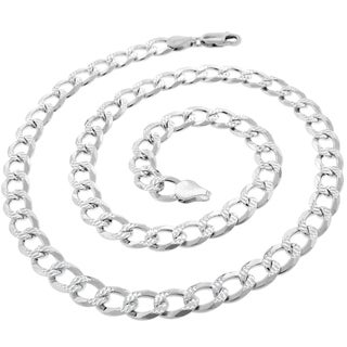 Authentic Solid Sterling Silver 7 5mm Cuban Curb Link Diamond Cut Pave 925 ITProLux Necklace Chains 20 30 Made In Italy