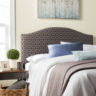 Humble + Haute Parker Queen Size Grey Embroidered Arched Upholstered Headboard