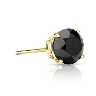 Auriya 14k Gold 1/3ct TDW 4-Prong Push-Back Round Cut Black Diamond Single Stud Earring