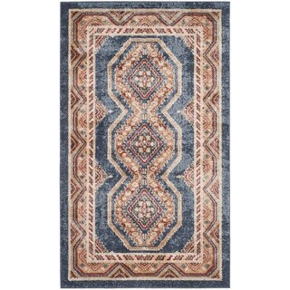 Safavieh Bijar Traditional Oriental Royal Blue/ Rust Distressed Rug (3' x 5')