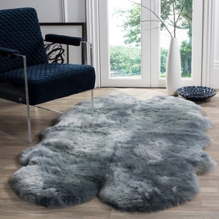 Safavieh Prairie Natural Pelt Sheepskin Wool Steel Blue Shag Rug - 4' x 6'