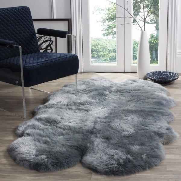 Safavieh Prairie Natural Pelt Sheepskin Wool Steel Blue