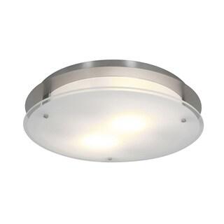 Access Lighting VisionRound 2-light Brushed Steel 16-inch Flush Mount