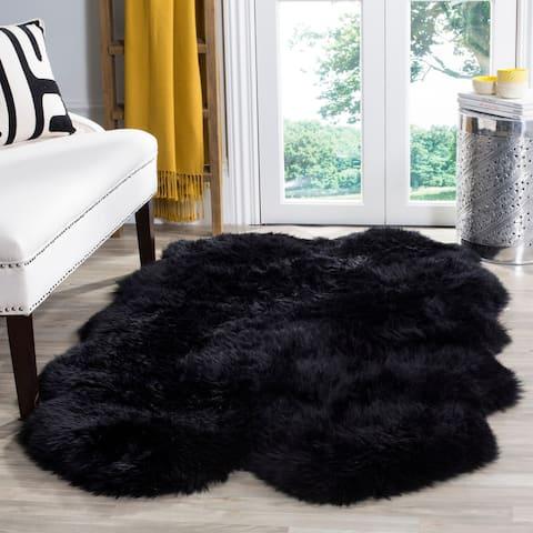 "Safavieh Prairie Natural Pelt Sheepskin Wool Midnight Black Shag Rug - 3'7"" x 5'11"""
