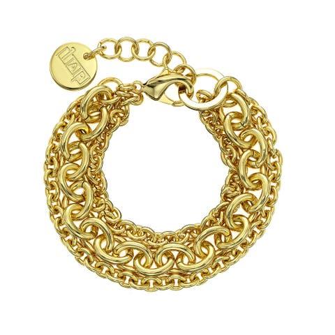 Isla Simone - 18 Karat Gold Electro Plated Three Strand Small/Large Oval Link Bracelet