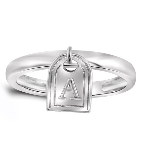 Jewelonfire Women's Sterling Silver A to Z Initial Charm Ring