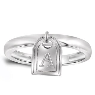 Jewelonfire Women's Sterling Silver A to Z Initial Charm Ring (More options available)
