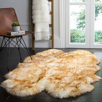 Safavieh Prairie Natural Pelt Sheepskin Wool Off-White/ Cocoa Brown Shag Rug (4' x 6')