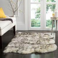 Safavieh Prairie Natural Pelt Sheepskin Wool Ivory/ Smoke Grey Shag Rug - 3' x 5'