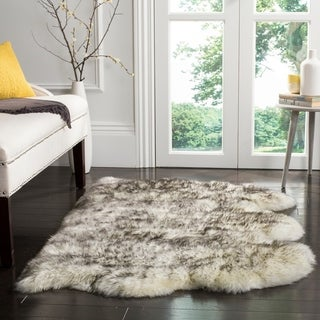 Safavieh Prairie Natural Pelt Sheepskin Wool Ivory/ Smoke Grey Shag Rug - 3' x 5'