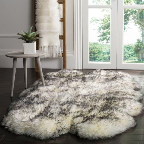 "Safavieh Prairie Natural Pelt Sheepskin Wool Ivory/ Smoke Grey Shag Rug - 3'7"" x 5'11"""