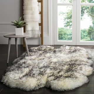 Safavieh Prairie Natural Pelt Sheepskin Wool Ivory/ Smoke Grey Shag Rug (4' x 6')