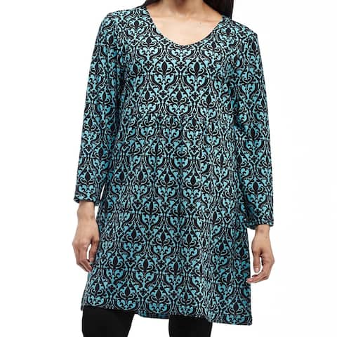 La Cera Women's Black and Turquoise Rayon and Spandex Plus-size Bodice Lined Top