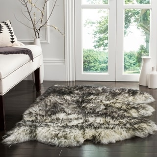 Safavieh Prairie Natural Pelt Sheepskin Wool Ivory/ Dark Charcoal Shag Rug (3' x 5')