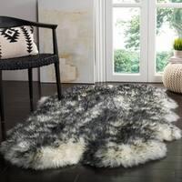 Safavieh Prairie Natural Pelt Sheepskin Wool Ivory/ Dark Charcoal Shag Rug - 4' x 6'