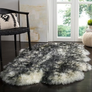 Safavieh Prairie Natural Pelt Sheepskin Wool Ivory/ Dark Charcoal Shag Rug (4' x 6')