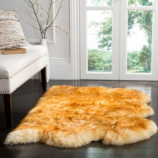 Safavieh Prairie Natural Pelt Sheepskin Wool Champagne/ Copper Brown Shag Rug (3' x 5')