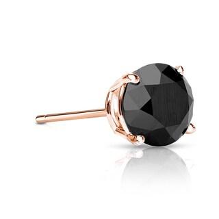 Auriya 14k Gold 1/2ct TDW 4-Prong Push-Back Round Cut Black Diamond Single Stud Earring