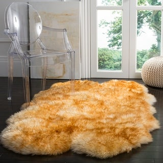 Safavieh Prairie Natural Pelt Sheepskin Wool Champagne/ Copper Brown Shag Rug (4' x 6')