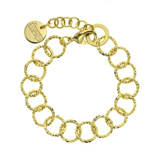 Isla Simone - 18 Karat Gold Electro Plated Textured Round Link Bracelet