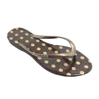 Ish Women's Flip Flop Summer Collection Purple/Brown PVC and Vinyl Sandal Shoes