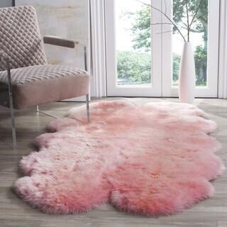 Safavieh Prairie Natural Pelt Sheepskin Wool Solid Pink Shag Rug (4' x 6')