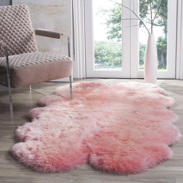 Safavieh Prairie Natural Pelt Sheepskin Wool Solid Pink