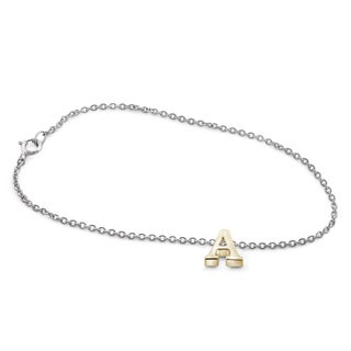 Jewelonfire 'A' Initial Yellow Gold-plated Sterling Silver Charm Bracelet