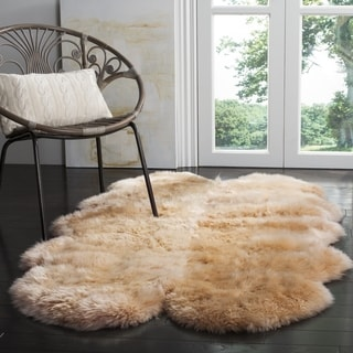 Safavieh Prairie Natural Pelt Sheepskin Wool Natural Beige Shag Rug (4' x 6')
