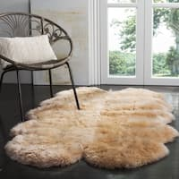 Safavieh Prairie Natural Pelt Sheepskin Wool Natural Beige Shag Rug (4' x 6') - 3'-7 x 5'-11