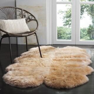 Safavieh Prairie Natural Pelt Sheepskin Wool Natural Beige Shag Rug (4' x 6')