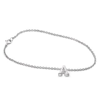 Jewelonfire Women's Sterling Silver A to Z Initial Charm Bracelet