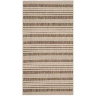Safavieh Courtyard Stripe Brown/ Bone Indoor/ Outdoor Rug (2' x 3'7)