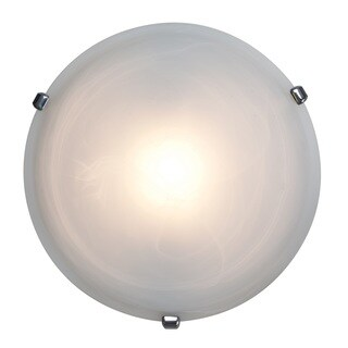 Access Lighting Nimbus 1-light Chrome 16-inch Flush Mount, Alabaster Shade