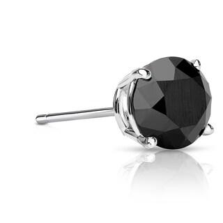 Auriya 14k Gold 1ct TDW 4-Prong Push-Back Round Cut Black Diamond Single Stud Earring