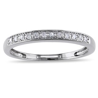 Miadora 14k White Gold 1/10ct TDW Diamond Semi-Eternity Wedding Band