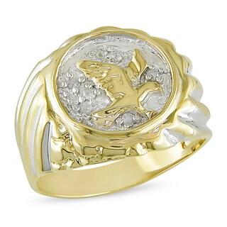 Miadora Men's 10k Yellow Gold 1/10ct TDW Diamond Eagle Ring (G-H, I2-I3)