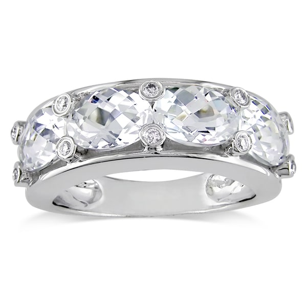 Miadora Oval-Cut White Topaz and 1/10ct TDW Diamond Semi-Eternity Ring in 10k White Gold (G-H, I2-I3