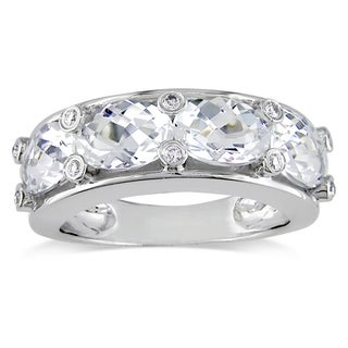 Miadora Oval-Cut White Topaz and 1/10ct TDW Diamond Semi-Eternity Ring in 10k White Gold (G-H, I2-I3)