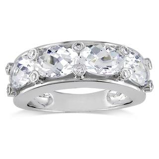 Miadora Oval-Cut White Topaz and 1/10ct TDW Diamond Semi-Eternity Ring in 10k White Gold (G-H, I2-I3