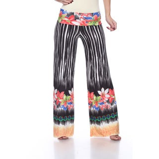White Mark Women's 'Tropicana' Print Polyester and Spandex Palazzo Pants