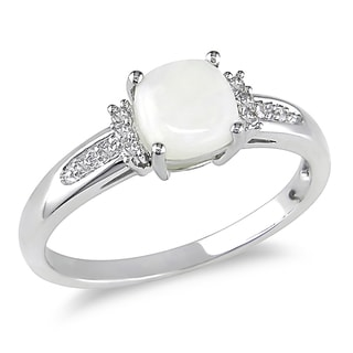 Miadora Cushion-Cut Opal and Diamond Accent Engagement Ring in 10k White Gold