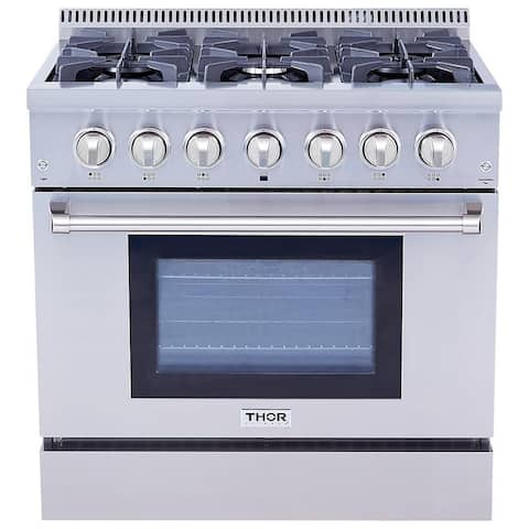 "Thor Kitchen - 36"" Dual Fuel Range in Stainless Steel"
