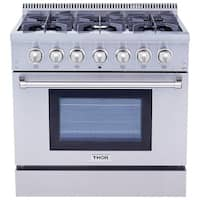 Thor Kitchen 36 inch Dual Fuel Range in Stainless Steel