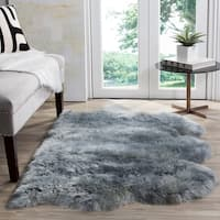 Safavieh Prairie Natural Pelt Sheepskin Wool Steel Blue Shag Rug - 2' x 3'