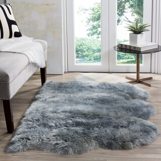 Safavieh Prairie Natural Pelt Sheepskin Wool Steel Blue Shag Rug - 2' x 3'