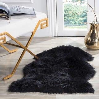 Safavieh Prairie Natural Pelt Sheepskin Wool Midnight Black Shag Rug (2' x 3')