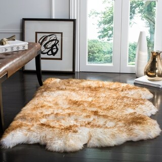 Safavieh Prairie Natural Pelt Sheepskin Wool Off-White/ Cocoa Brown Shag Rug - 2' x 3'