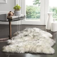 Safavieh Prairie Natural Pelt Sheepskin Wool Ivory/ Smoke Grey Shag Rug - 2' X 3'